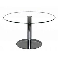 Стол журнальный Триада-17, круглый, D-650мм, Хром  / Прозрачное стекло