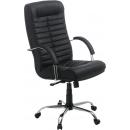 Кресло офисное Орион , натуральная кожа, хром.