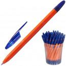 Ручка шариковая Attache , масляная, синяя (0.7 мм), оранжевый корпус