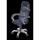 Кресло офисное БУН спинка сетка+ иск.кожа, сиденье сетчатая ткань.+ подголовник, крестовина хромиров