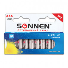 Батарейки AAA (LR03),SONNEN СУПЕРАЛКАЛИН, в блистере 10 шт, 1.5В,