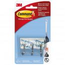 Крючки Command прозрачные нагрузка до 225 г для столовых приборов(3 штуки + 4 клейких полоски)
