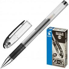 Ручка гелевая Pillot BL-G3 38 с резиновой манжетой черная  0,2мм