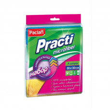 Салфетки Paclan Practi из микрофибры 30*30 набор цветные  4 шт/упак