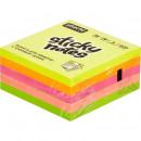 Блок бумажный с липким слоем  76*76  5 цветов неоновые розовый Attache 400 листов