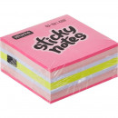 Блок бумажный с липким слоем  51х51 мм, Attache 5 цветов неоновые пастельные 250 листов