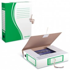 Бокс архивный картонный BRAUBERG 75мм зеленый