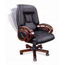 Кресло офисное I-BOSS, натур.кожа/иск.кожа, черный, т-орех