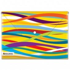 """Папка-конверт на кнопке А-4 BRAUBERG """"Экспрессия"""", разноцветные полосы , 0,18 мм"""