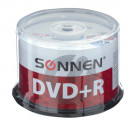 Диск DVD R+(плюс) SONNEN, 4,7 Gb, 16x, Cake Box, 50 шт (с-512577)