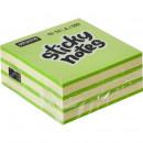 Блок бумажный с липким слоем  51х51 мм, Attache 2 цвета неонов зеленый 250 листов