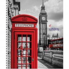 Тетрадь А-4 80 листов London на пружине картоннная обложка