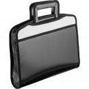 Портфель пластик 5 отделений ATTACHE А-4+ черная/серая ( выдвижные ручки)