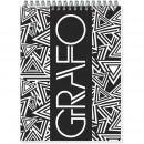 Блокнот А-5  50 лист,на пружине,обложка Графо