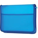 Папка на молнии А-5 пластиковая с внутреним карманом синяя