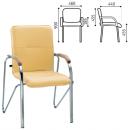 Кресло Samba silver (кожзам, подлокотники дерево)