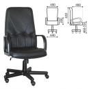 Кресло офисное Менеджер натуральная кожа черн/пласт.руч