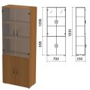 Шкаф полузакрытый со стеклом Лайт (ш700*г350*в1830 мм), ЛТ Ш-02/ДШК-02+ДС-02
