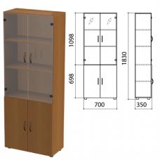 Шкаф для документов полузакрытый со стеклом Лайт (ш700*г350*в1830 мм), ЛТ Ш-02/ДШК-02+ДС-02