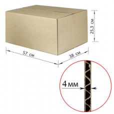 Коробка картонная 570х380х253мм, картон Т22, бурый, 10 шт./уп