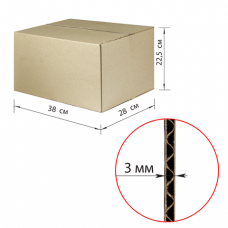 Коробка картонная 380х280х225мм,, картон Т22, бурый, 10 шт./уп