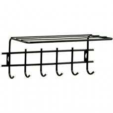 Вешалка настенная металлическая, 6 крючков+полка, цвет черный