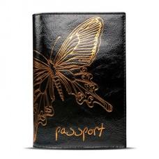 Обложка для паспорта ASKENT Райский остров O-14-NK нат.кожа черный