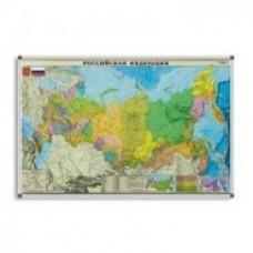 Карта России 122х79, основа ДВП в алюминиевой раме