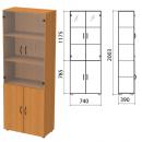 Шкаф комбинированный со стеклом Монолит, 740х390х2050мм, цвет орех