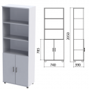 Шкаф комбинированный полузакрытый Монолит, 740х390х2050мм, цвет серый