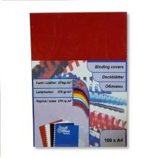 Обложки для переплета картонная А-4 под кожу красная 100л